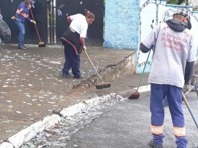 Proguaru executa limpeza de ruas e avenidas após 1º turno da eleição